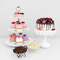 3D berry dessert cake cupcake model