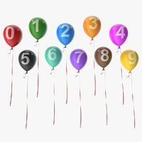 number balloons 3D model