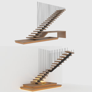 3D modern stairs steps model