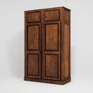 3D realistic wooden closet