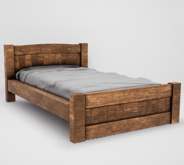 3D model realistic wooden bed