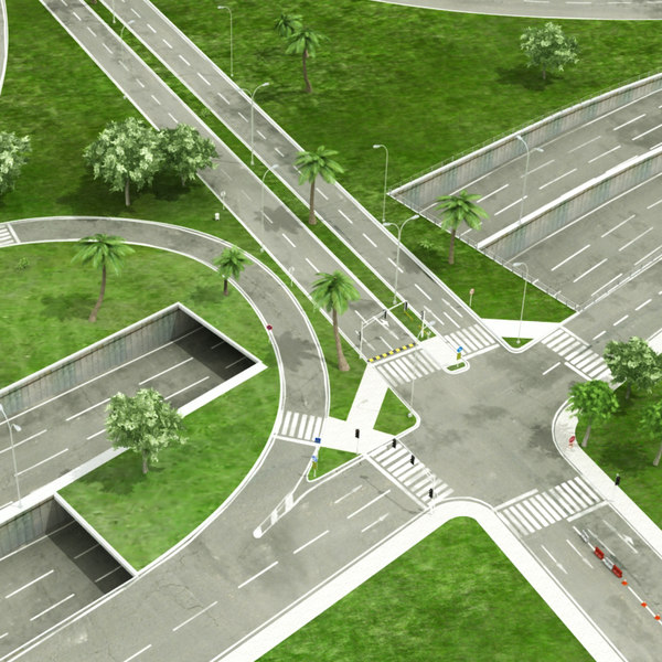 3D model intersection 3 road