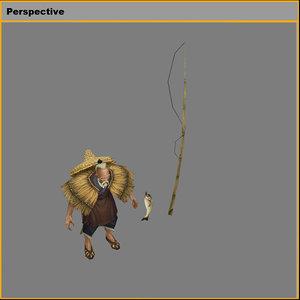 3D model characters - fisherman zhang