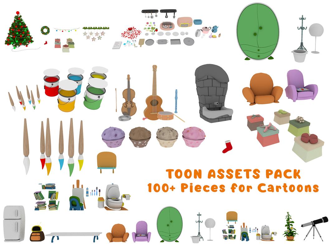 3D toon cartoon set model