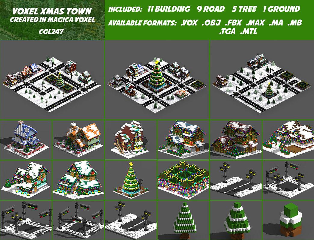 Full Pack Christmas House Voxel