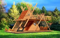 Glamping tower with hot tube and fire pit 3d model