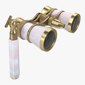 3D model classic pearl opera glasses