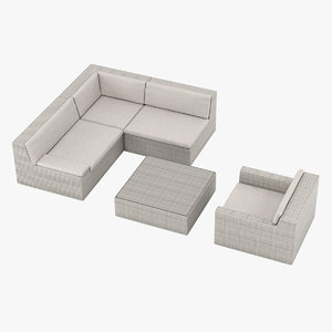 set dedon lou furniture 3D model