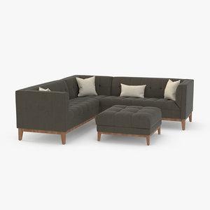 3D model sofa modern corner