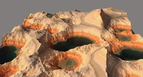 terrain lake multi sub 3D model