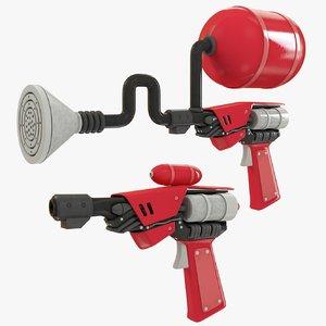set science fiction guns 3D model
