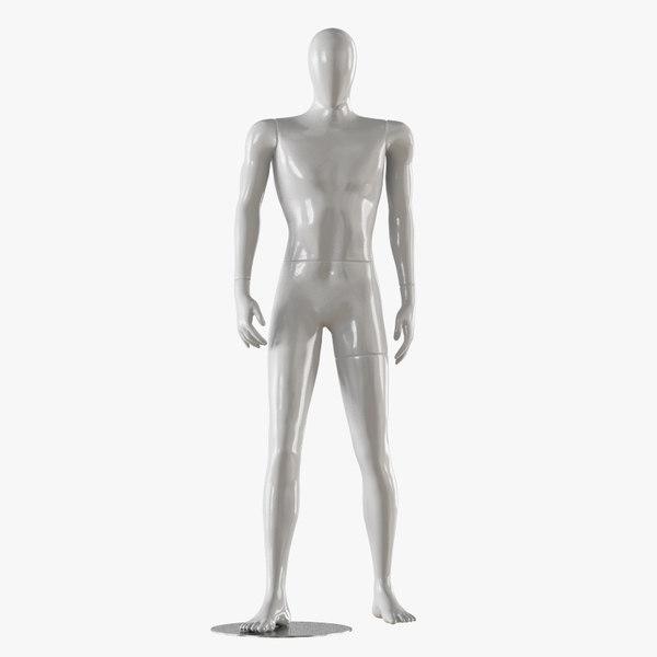3D faceless male white mannequin