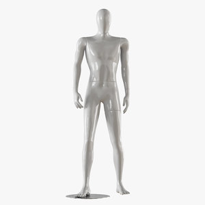 3D faceless male white mannequin
