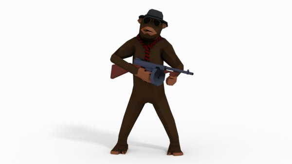 3D monkey gangster model