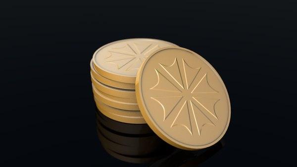 3D golden generic coins model