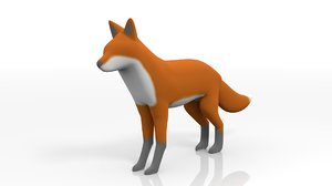 rigged fox simple 3D