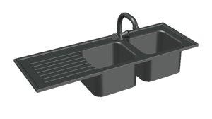 3D model double kitchen sink