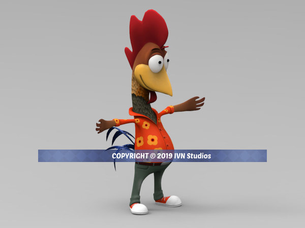 3D model cartoon rooster