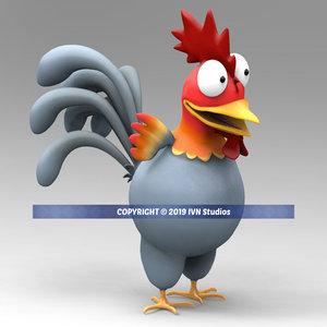 crazy rooster cartoon 3D model