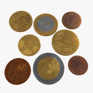 3D blender coins euro model