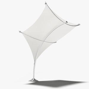 3D model tensile shelter shade