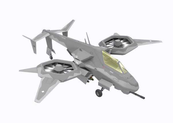 3D attack helicopter sci-fi