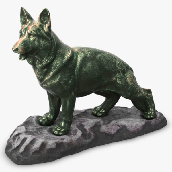 bronze dog statue 3D