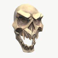 3D stylized evil skull model