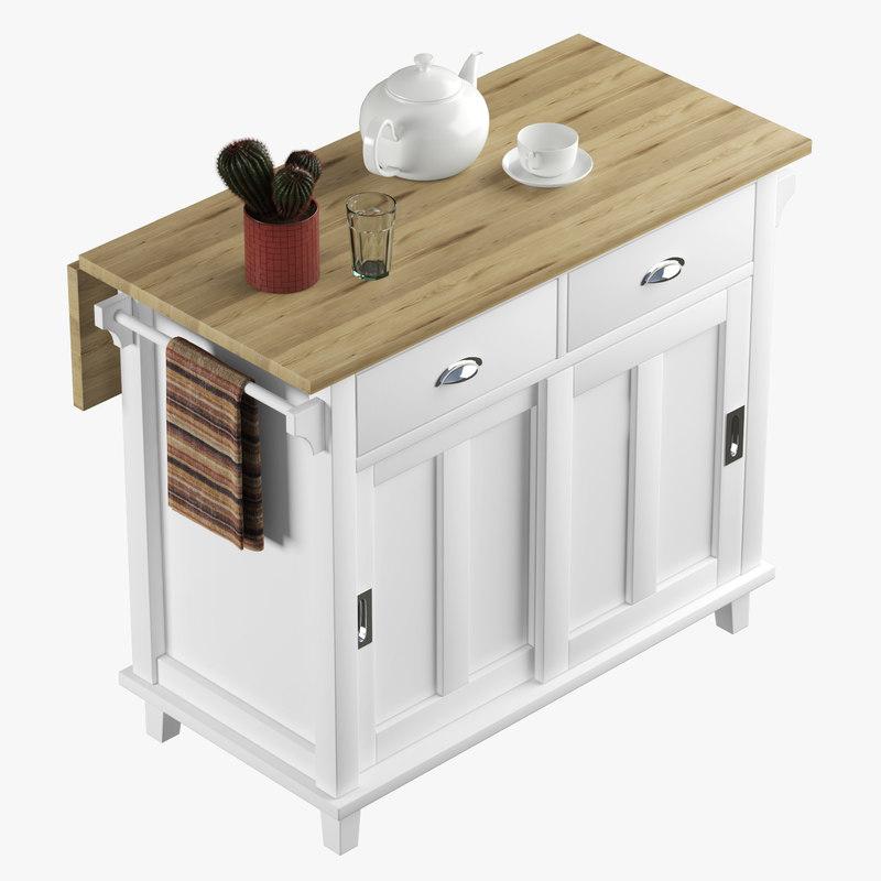 Crate&Barrel Belmont Kitchen Island 3D Model