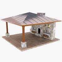 Outdoor Fireplace Patio Stone Covered 3D Model