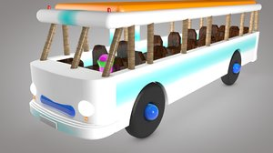 3D model colorfull wooden bus toy