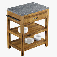 Crate and Barrel Bluestone Reclaimed Kitchen Island 3D Model
