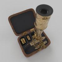 3D monocular microscope hyperrealistic old