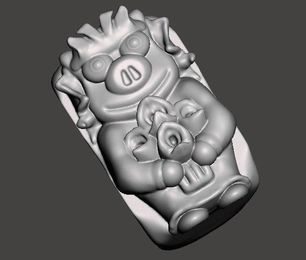 3D simpsons twins pigs