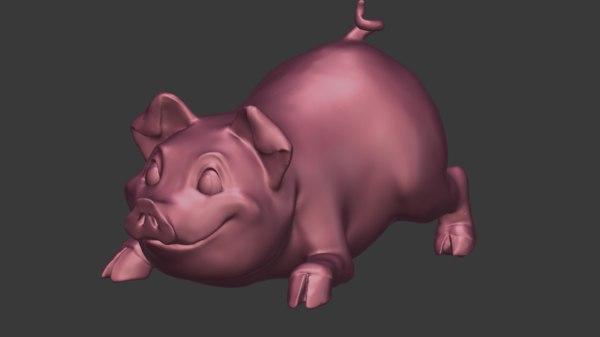 3D cartoon piggy sculpture