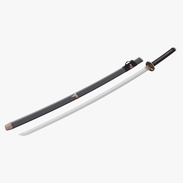3D model japanese katana sword