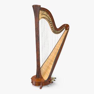 3D pedal harp instrument