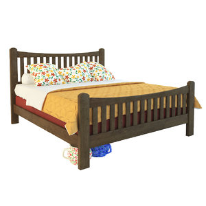 3D solid wooden bed