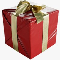 Wrapped Christmas Gift Box With Bow 160x170x160mm