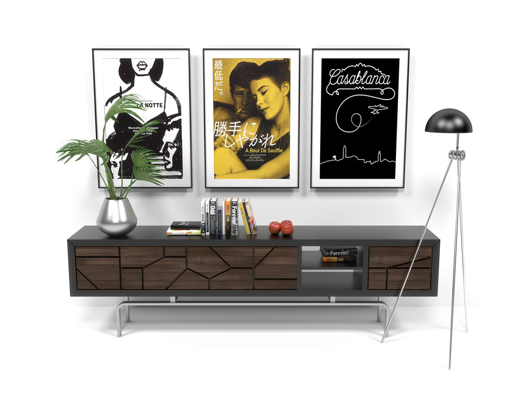 sideboard floorlamp decor 3D model