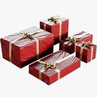 Wrapped Christmas Gift Boxes With Bow Collection