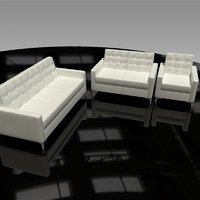 leather sofa chair loveseat 3D model