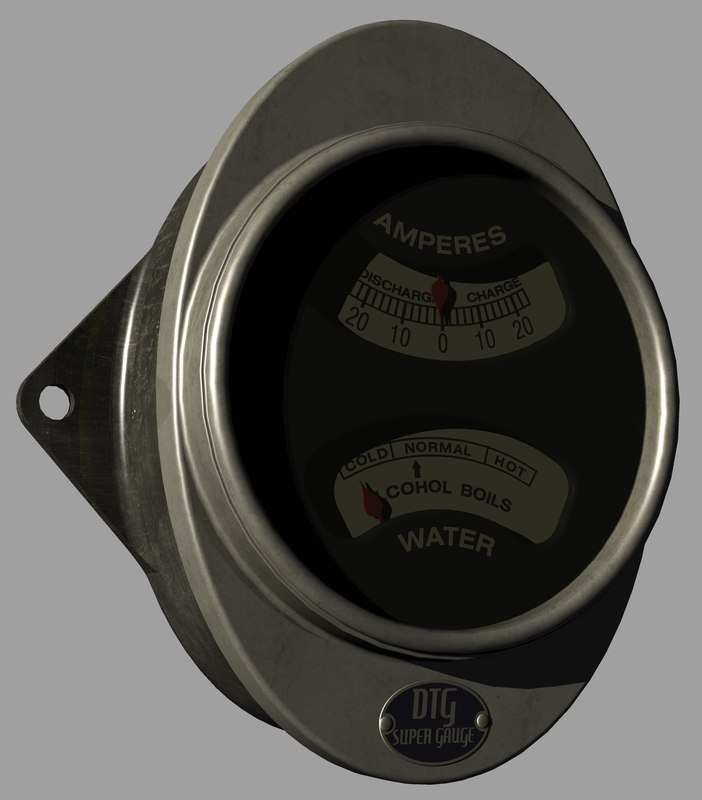 3D ac-gm chevy ammeter thermometer model