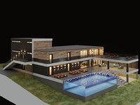 villa aquarium pool 3D model