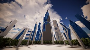 city futuristic modern buildings model