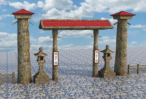3D entrance asian asia model