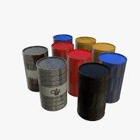 Realistic Gallon/Barrel Set for Games PBR