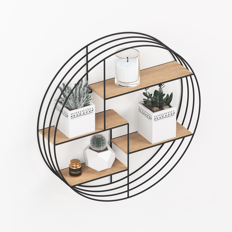 3D black metal shelf decor model