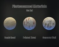 Set of 3 PBR Materials - Photoscanned Material Kit - 4K TIFF