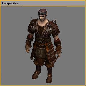 3D leather suit - male model